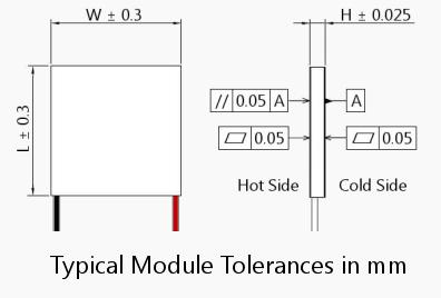 Typical Thermoelectric Module tolerances in mm Illustration